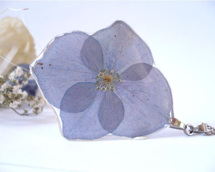 Hydrangea Necklace - Real Flower Jewelry - Pressed Flower Necklace - Pressed Flowers - Real Flower Necklace - Hydrangea - Purple Necklace by FlowerPoems on Etsy