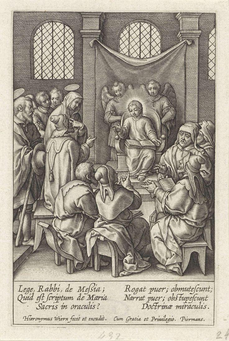 Hieronymus Wierix | Christus als twaalfjarige in de tempel, Hieronymus Wierix, 1563 - before 1619 | Christus zit in de tempel op een troon, achter hem twee engelen. Hij legt de schrift uit aan de schriftgeleerden. Jozef en Maria lopen de tempel binnen en vinden hun twaalfjarige zoon tussen de geleerden. In de marge een zesregelig onderschrift, in twee kolommen, in het Latijn.