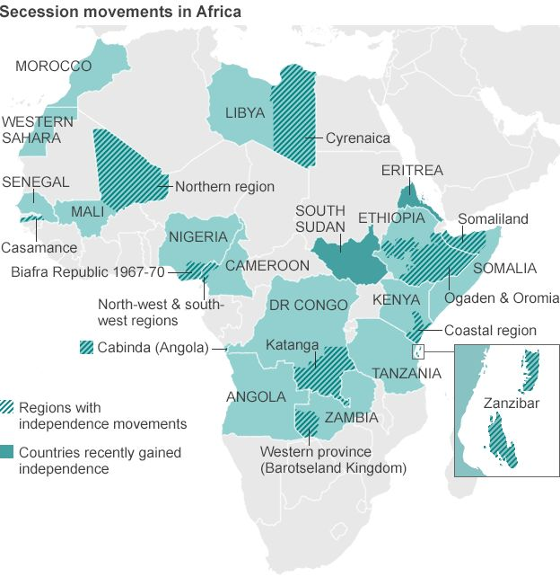 Active African Separatist Movements Usa Mapsanthropologyafricans