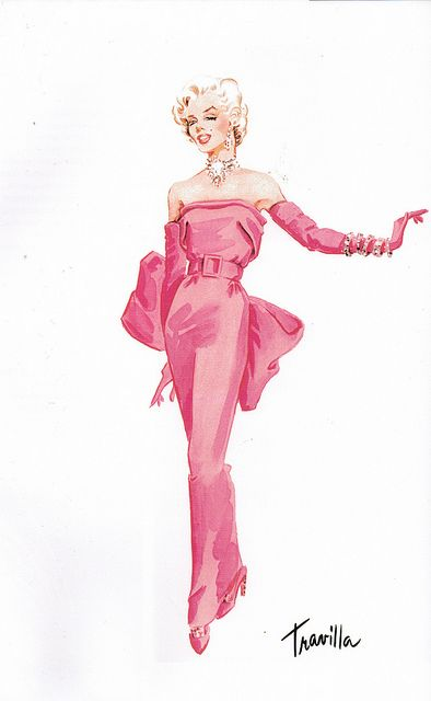 """Travilla costume design sketch for the gown Marilyn Monroe wore in her famous musical number """"Diamonds Are a Girl's Best Friend"""" for the classic film GENTLEMEN PREFER BLONDES (1953) #costumes #classicfilms"""
