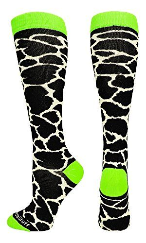Giraffe Over the Calf Socks (White/Neon Green, Small):   MadSportsStuff Giraffe Over the Calf Socks. High performance athletic socks for all team sports and elite athletes. Small fits a Youth Shoe Size 2-6. Medium fits a Men's Shoe 6-9 and Women's Shoe Size 7-10. Large fits a Men's 9-12 and Women's 10-13. X-Large fits a Men's 12-15 and Women's 13-16.