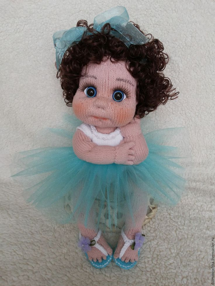 Купить Фрося - бирюзовый, вязаная игрушка, вязаная кукла, вязаный пупс, вязание, ручная работа