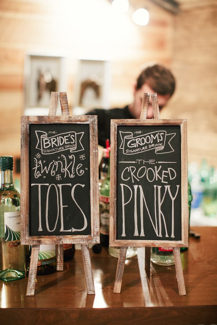 Signature Drink Signs - Cute Names! On SMP:  http://www.StyleMePretty.com/2014/03/03/fall-wedding-at-sycamore-farm-bloomington/Photography: Todd Pellowe
