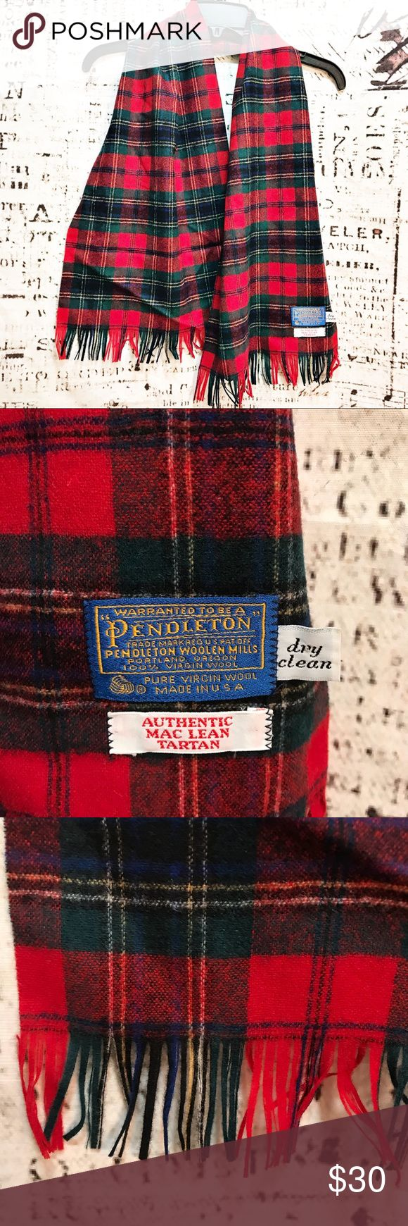 """Pendleton Woolen Mills Tartan Plaid Scarf Maclean Beautiful, flawless scarf by Pendleton Woolen Mills. Mac Lean clan tartan plaid in 100% pure virgin wool made in Portland, Oregon. Scarf measures approx. 13"""" wide x 52"""" long including fringe. Red and green with slight hints of white and yellow. In perfect condition. Pendleton Accessories Scarves & Wraps"""