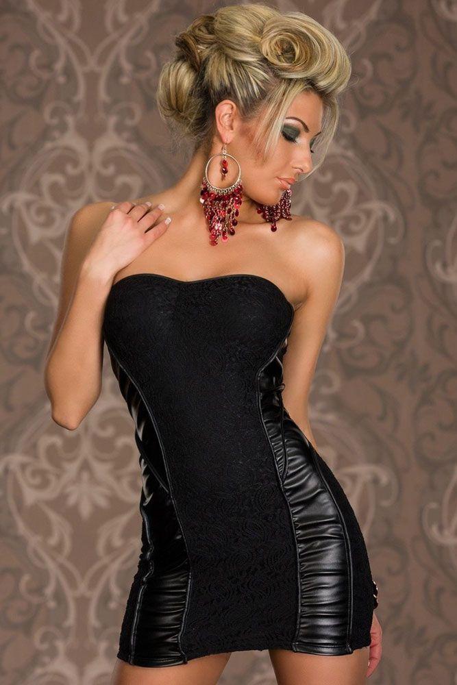 Black Bandeau Lace Party Dress