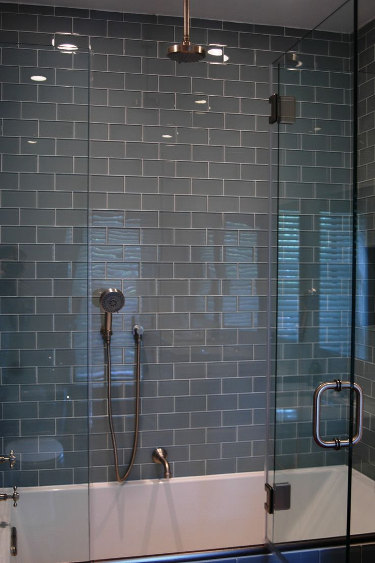 Lush Fog Bank 3x6 Gray Subway Tile Shower Wall Installation. Tile by modwalls at modwalls.com