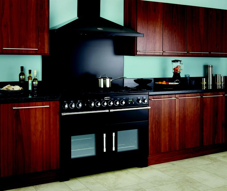 This Black Excel 110 range cooker blends effortless with the smooth sleek lines of this contemporary styled kitchen.