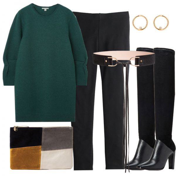 - We couldn'tpossibly do a leggings story without including theOG cozy, cotton pair. Instead of wearing them with an oversized hoodie, opt for a more elevated formula with a sweater dress rendered in a rich hue and sexy over-the-knee boots. Make like an editor by cinching the waist with a tassel leather belt to add shape and interest. Accessorize with a patchwork suede clutch and circular gold earrings.