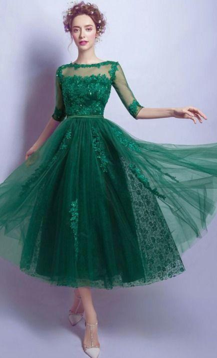1950s Vintage Style Lace Tea Length Button Dress