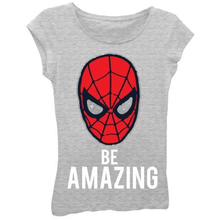 Spiderman Girls' Be Amazing Short Sleeve Graphic T-shirt With Silver Glitter, Size: XL (14/16), Gray