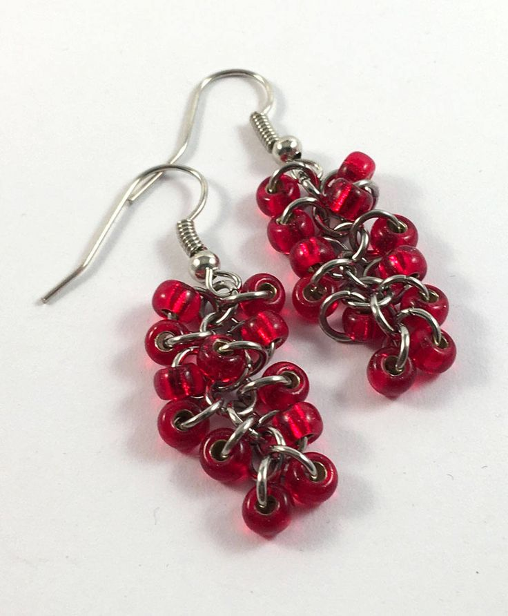 Red chainmaille beaded earrings by TrinketFairyDesigns on Etsy