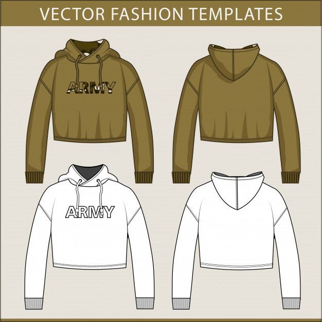 Download Crop Hoodie Fashion Flats Template Hoodie Fashion Hoodie Illustration Hoodie Template