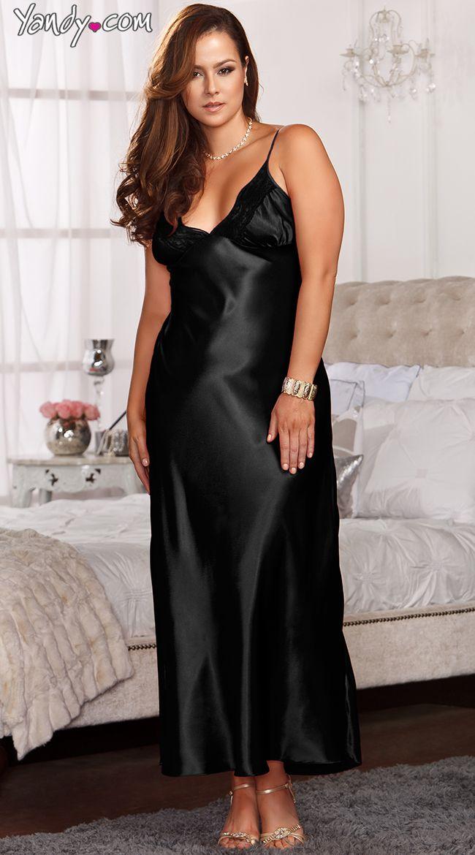 Plus Size Lace Trimmed Floor Length Satin Gown | Plus size