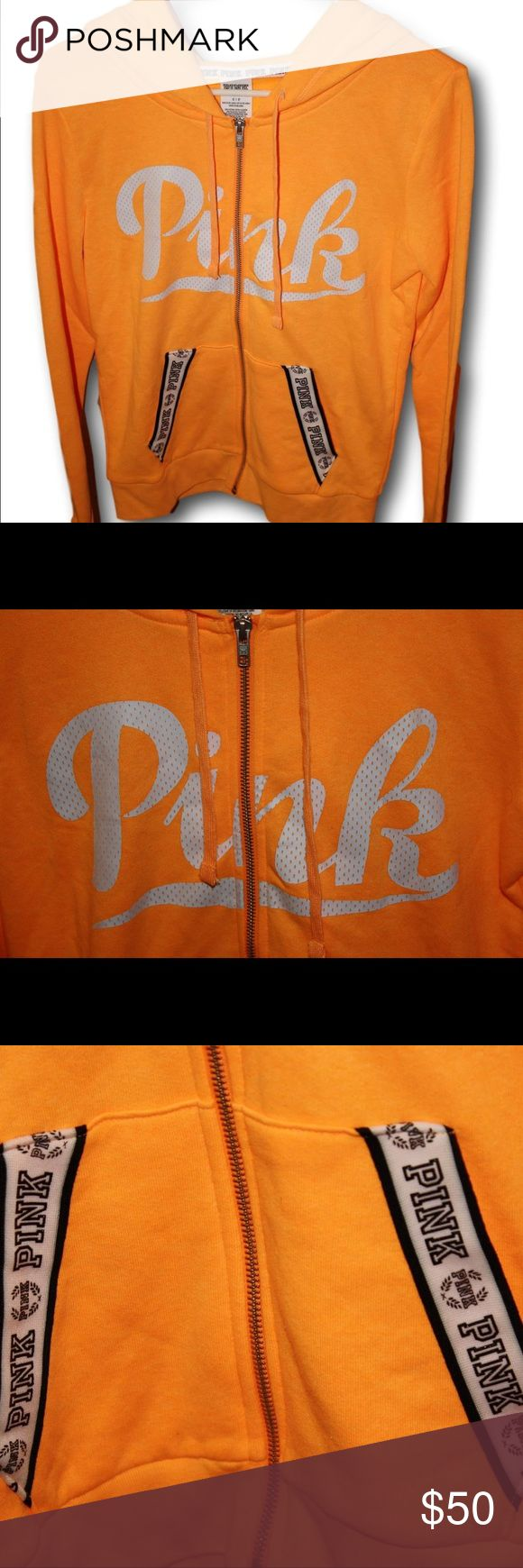 Victoria's Secret PINK Zip Up Hoodie Sweatshirt Women's size Small. This orange, black / white VS PINK logo hoodie is super cute and NWT! ☀️  TAGS: VS PINK, Love Pink, Victoria Secret Pink, Pink, Hoodie, Full Zip Up, Hooded, Sweatshirt, Orange, White, Black, LOGO PINK Victoria's Secret Tops Sweatshirts & Hoodies
