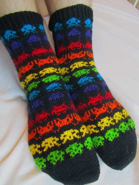 Space invaders socks! <3 <3 <3