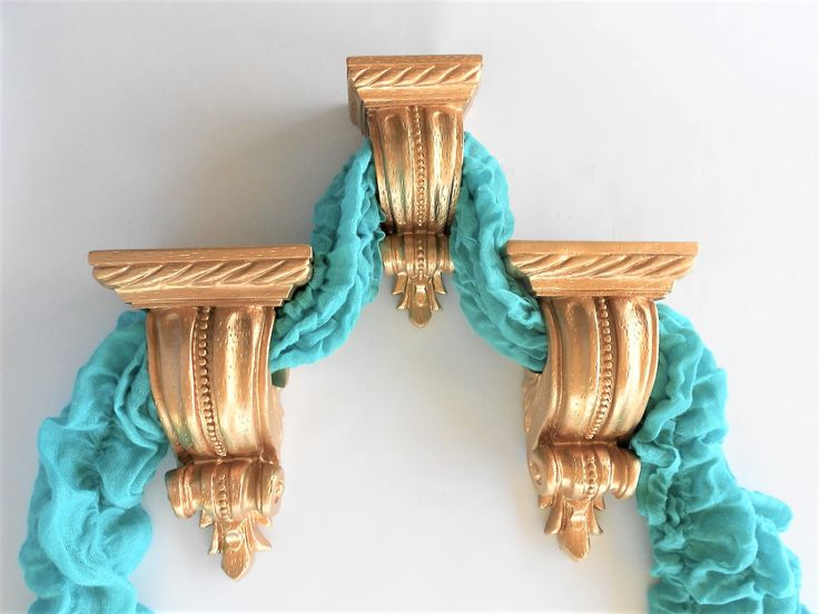 Set of 3, Gold Curtain Sconces, Drapery Holders, Curtain Rod Holders, Curtain Brackets, Curtain Pole Holder ,Item GMCS 10043 by GoldLeafGirl on Etsy