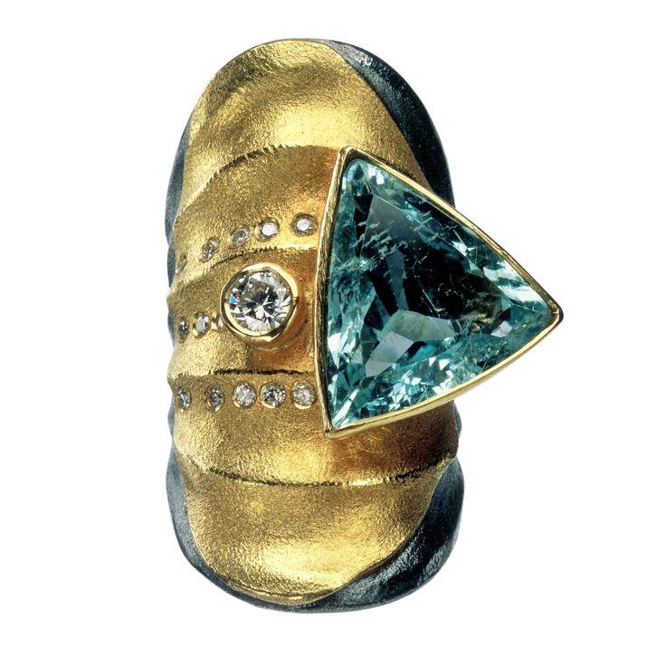 Designer Peter Schmid of Atelier Zobel      Materials: 925/0 silver, 22 k gold, aquamarine 9,04 ct, diamond brilliant cut 0,30 ct, champagne coloured diamonds vsi 0,13 ct       http://www.atelierzobel.com/schmuck/schmuck_list_mz.php?spr=en&kategorie=7&go=25