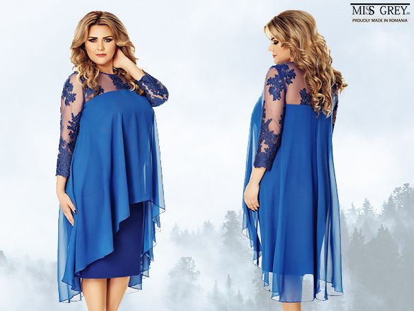 The feminine design, precious embroidery and vibrant color combine harmoniously creating a spectacular dress. Discover the discounted price for the blue Plus Size Flora dress in our online shop.