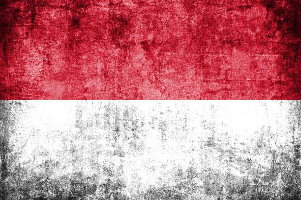 indonesia flag painted on grunge wall