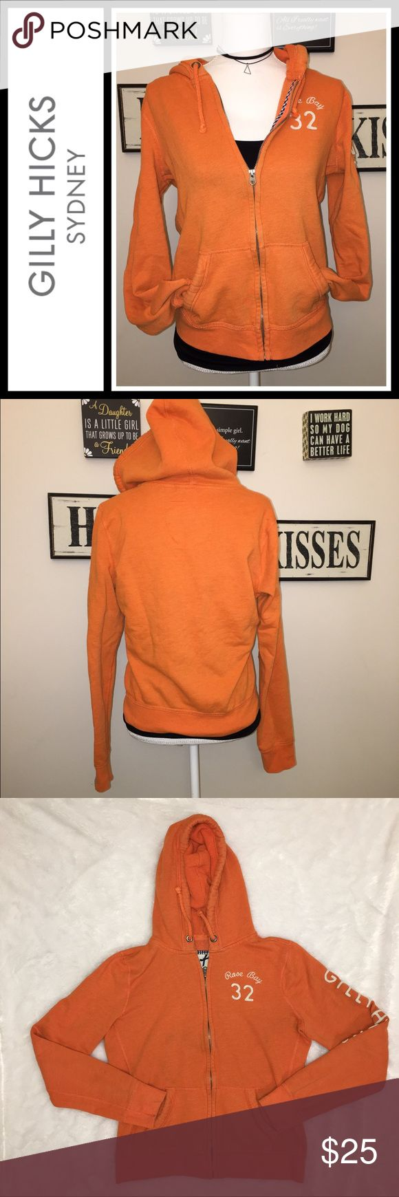 Gilly Hicks (Hollister) Orange Hoodie EUC, pre loved but no flaws - Gilly Hicks Hoodie - size large, runs a little small Gilly Hicks Tops Sweatshirts & Hoodies