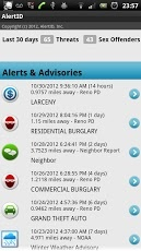 AlertID Mobile app. Receive alerts for burglary, auto theft, sex offender, tornado, in your area. Helping people live safely & bringing neighbors together.