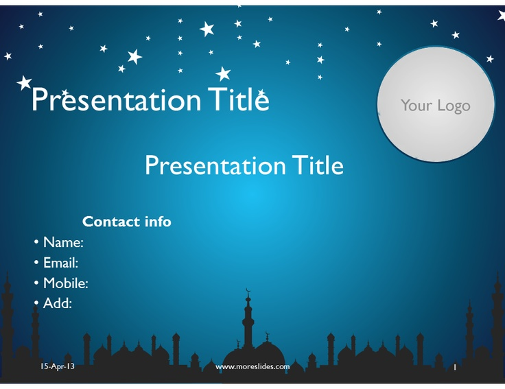 Download Editable Microsoft Power Point presentation Islamic - Blue vector slides, themes, templates and keynotes at moreslides.com Features of our Powerpoint presentation slides and themes :  - Fully Editable Shapes and colors - High quality vector elements - Compatible with Microsoft PowerPoint 97, Powerpoint 2003, Powerpoint 2007, PowerPoint 2010, PowerPoint 2013 - Video tutorial to edit the slides after purchase