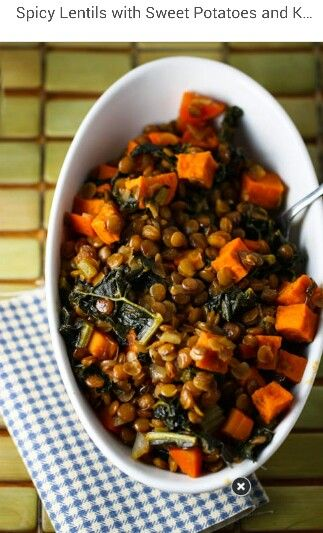 Spicy Lentils with Sweet Potatoes and Kale LINK www.eatliverun.com/spicy-lentils-with-sweet-potatoes-and-kale/