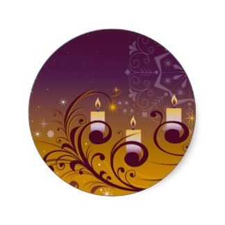 Purple and Gold Holiday Candles Stickers