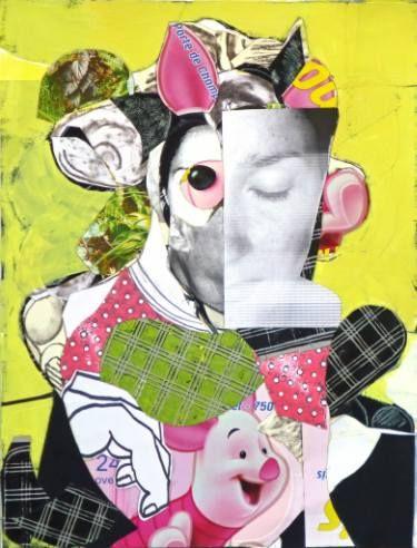 """Artist: Pascal Marlin; Paint 2016 Collage """"woman with a mask"""""""