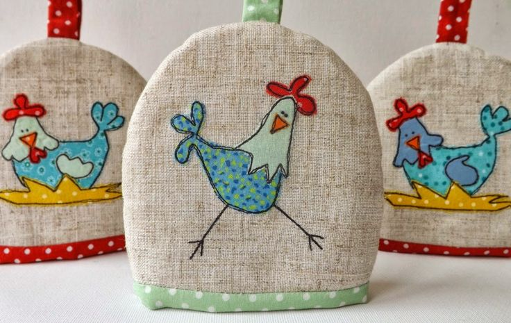 SewforSoul: Applique Chickens Egg Cosy with Freestyle Machine Embroidery. Cute Chooks Cozy.