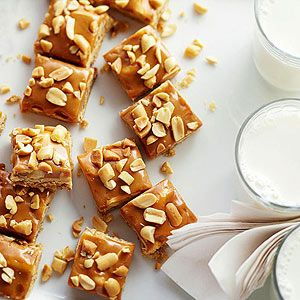 This treat contains all the yummy goodness of a salted-nut candy bar with the added bonus of a luscious caramel topping.