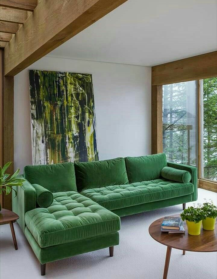 Modern & green - love the colors not sure about the style of the sofa. Retro is not really a personal fav