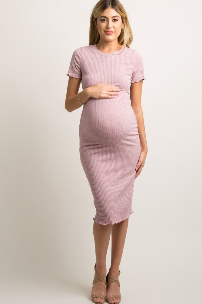 847a086aa38 Mauve Faded Ribbed Fitted Maternity Midi Dress
