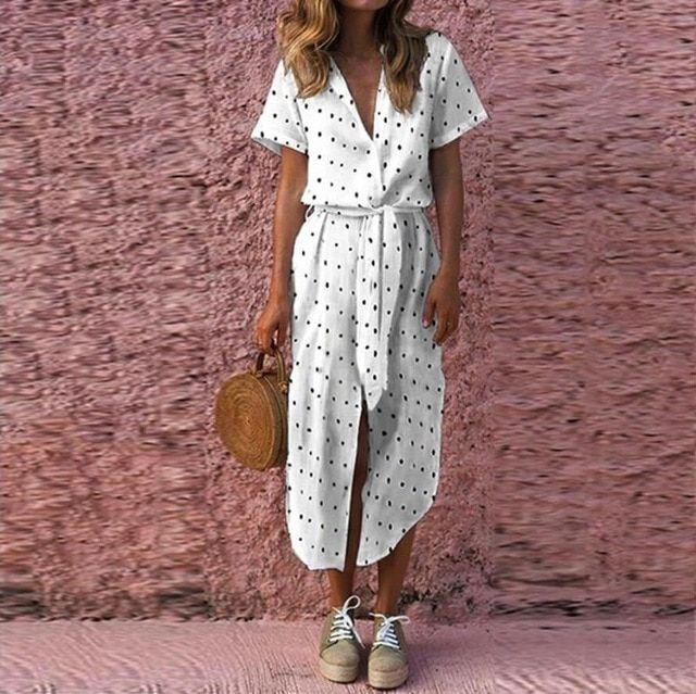 Dress womens sexy casual daily bow tie v neck dot button dress short sleeve soild long dress women 2018aug14