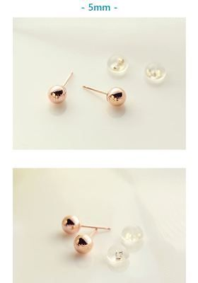 Ball Earrings 14k Solid Gold(Color: Yellow Gold, Pink Gold) 1 Pair Made in Korea