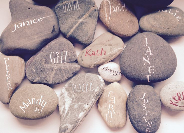 Selection of stones - the commission also including writing phrases on the back of each