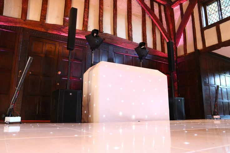 Wedding DJ and White LED Dance Floor Inspiration Great Fosters. Wedding Hire Berkshire, Surrey, South East, South West