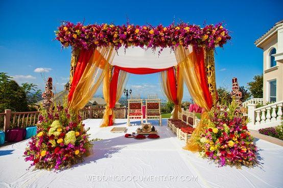 fabric and floral mandap, indian wedding mandap with flowers,