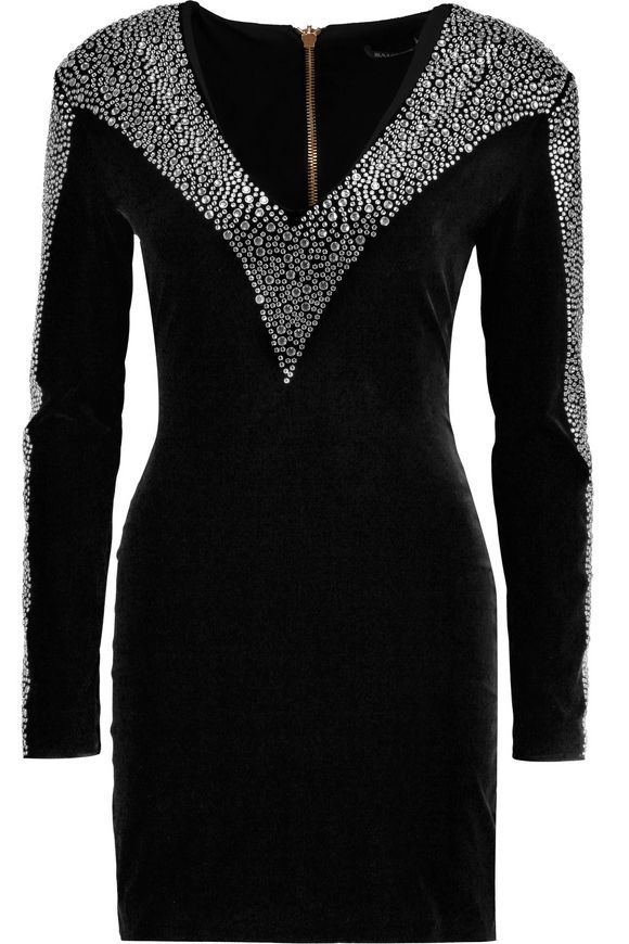 Crystal-embellished velvet mini dress | BALMAIN | Sale up to 70% off | THE OUTNET
