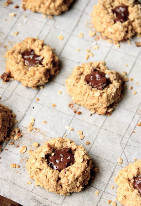 ... : vegan Chocolate Peanut Butter Oatmeal Thumbprint Cookies #vegan #GF