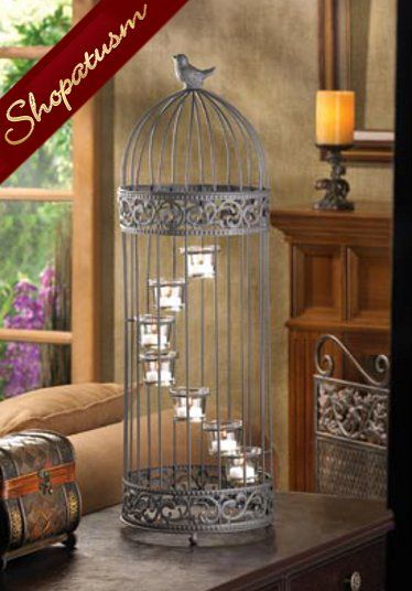 Large birdcage staircase candle holder stand centerpiece
