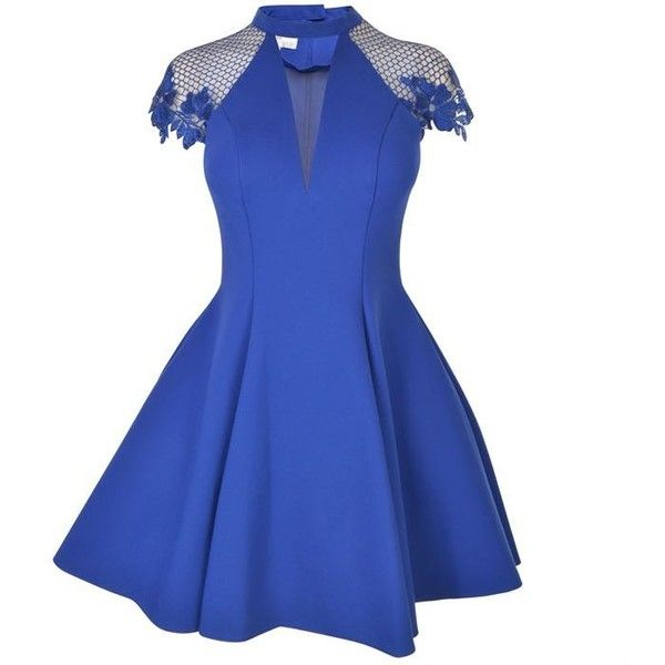Forever Unique Anna Lace Dress ($355) ❤ liked on Polyvore featuring dresses, blue, blue cocktail dress, v-neck dresses, blue fit and flare dress, v neck cocktail dress and blue dresses