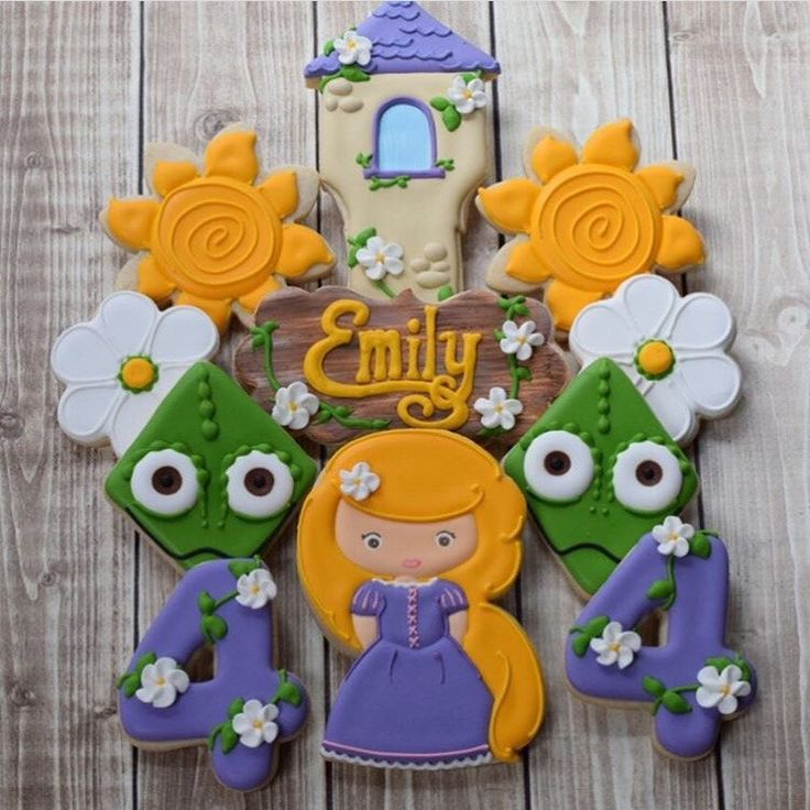 Tangled Inspired Disney Rapunzel Decorated Cookies Girl Birthday by FlourishCookies on Etsy https://www.etsy.com/listing/385162446/tangled-inspired-disney-rapunzel