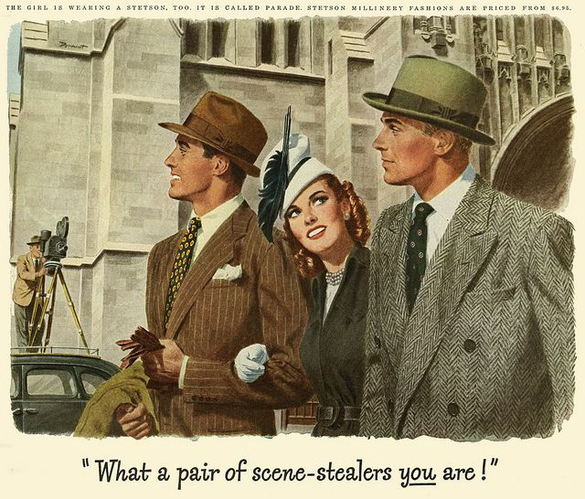 Two dapper chaps and a stylishly attired lady all sporting Stetson hats. 1940s ad