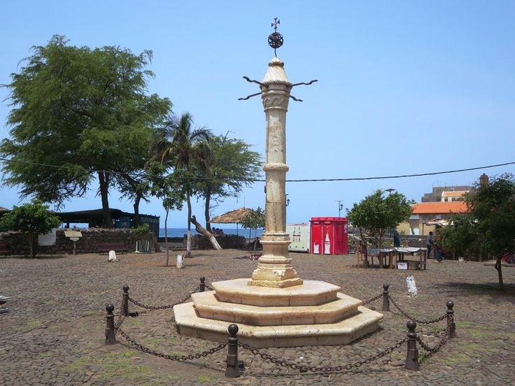 In early colonial times disobedient slaves were whipped on the white marble Pelourinho or pillery (1520) in Cidade Velha on the south coast of Santiago Island, Cape Verde.