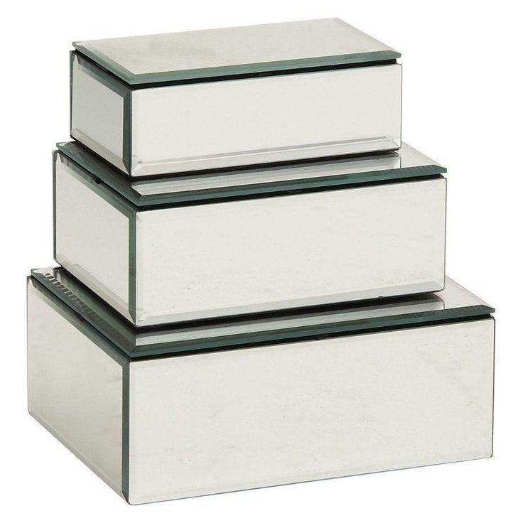 Woodland Imports Prized Mirrored Jewelry Box - Set of 3 - 87256