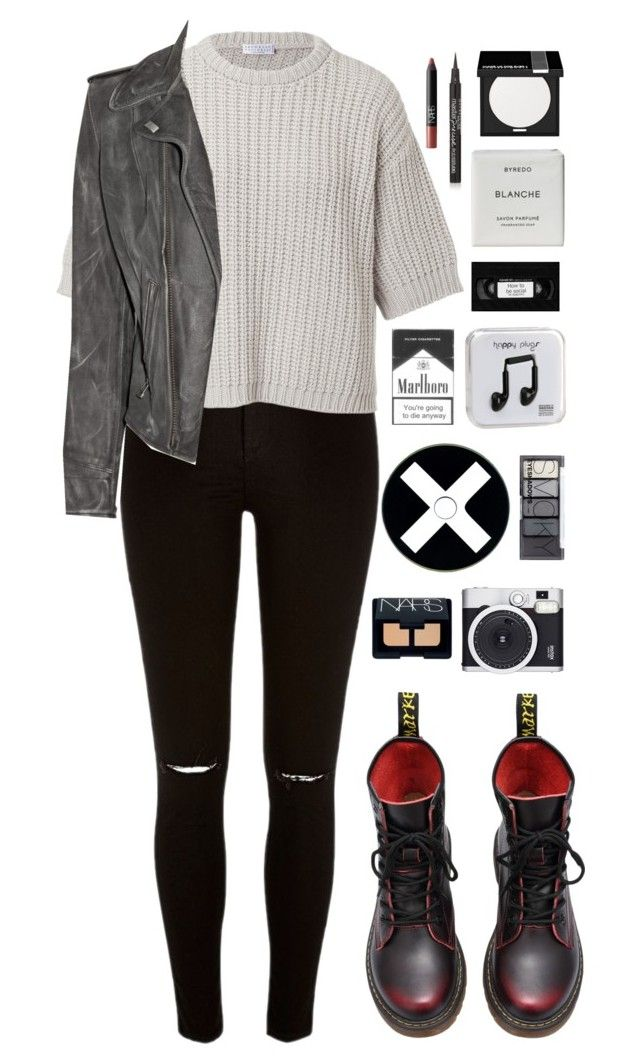 """""""gravity gets us all"""" by ellac9914 ❤ liked on Polyvore featuring River Island, Brunello Cucinelli, MiH Jeans, Happy Plugs, H&M, Byredo, MAKE UP FOR EVER, Retrò, NARS Cosmetics and Maybelline"""