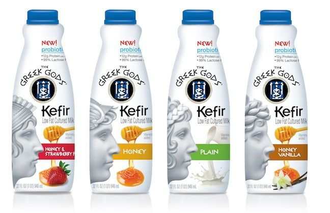 The Hain Celestial Group's, The Greek Gods Kefir - The Kefir low fat cultured milk combines the flavors with 12g of protein and probiotic cultures in each one-cup serving. The Greek Gods Kefir is also Gluten Free and 99% Lactose Free. The Greek Gods Kefir can be consumed on its own or in dressings and smoothies as well as poured over fresh fruit or cereal. Available in Plain, Honey, Honey Vanilla and Honey Strawberry flavor varieties...