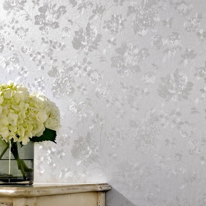$27.20/roll Floral Silk Silver Mist Wallpaper by Graham and Brown