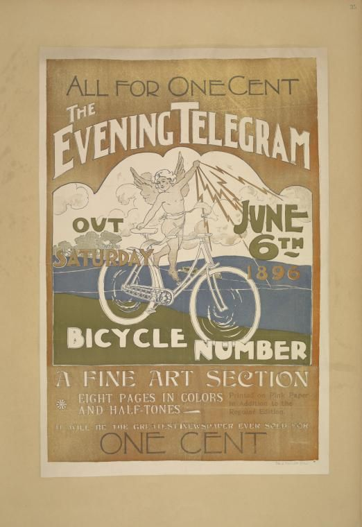Newspaper poster from 1896. I love the colors